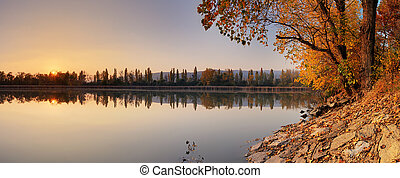 Lake at autumn with tree, Jursky Sur