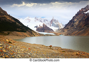 Views of lake and mountain peaks and glaciers of mountains Fitz Roy, Cerro Torre, Andes, Santa Cruz, Argentina