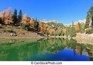 Beautiful Lake at Rofan Gebirge during Autumn season in Eben am Achensee, Austria