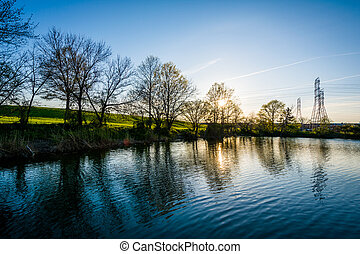 Lake at sunset, at Stansbury Park, in Dundalk, Maryland.