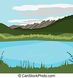 lake at the mountains background.eps