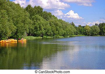 Lake at the park, yaroslavl, russia