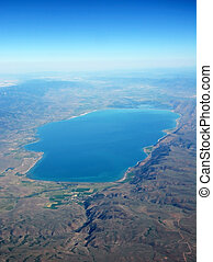 Lake at the USA. View from the top