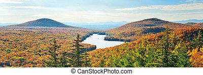 Lake Autumn Foliage - Lake with Autumn foliage viewed from...