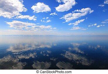 Lake Baikal - Calm Baikal Lake. Mountains on horizon....