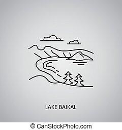 Lake Baikal icon on grey background. Russia, Siberia. Line icon