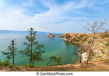 Lake Baikal in Siberia - Baikal lake near Khuzhir villahe at...