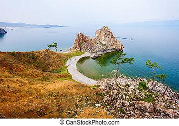 Lake Baikal in Siberia - Shamanka (Shamans Rock) on Baikal...