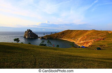 Lake Baikal. Olkhon island. Cape Burkhan. Twilight.