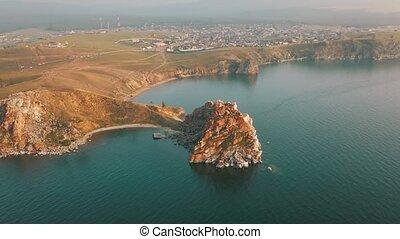 Lake Baikal. Olkhon Island in the summer Shamanka from drone...