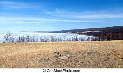 Lake Baikal Olkhon Island landscape timelapse - Lake Baikal...