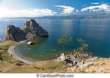 Lake Baikal - Cape Burkhan in Olkhon island, lake Baikal,...
