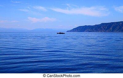 Lake Baikal  - Ship in middle of the Lake Baikal, summer.