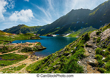 lake Balea in Fagaras mountains on a bright sunny day....