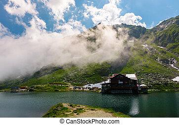 lake Balea of Fagaras mountains. lovely summer landscape...