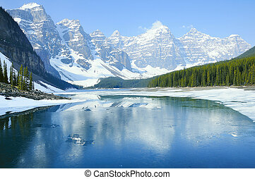 lake., banff, 国民, park., 氷堆石