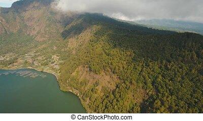 Lake Batur. Bali,Indonesia. - Aerial view Mountain peaks are...