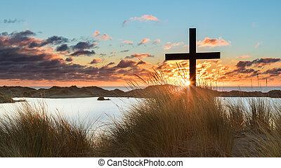 Lake Beach Sunset Cross
