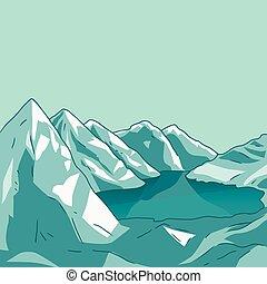 lake., berg, gletscher, vector., landschaft.