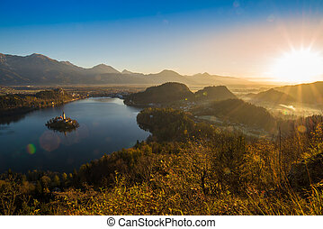 Lake Bled and the church in Slovenia at sunset
