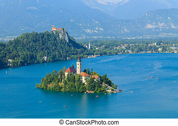 Lake Bled and the island with the church summer in Slovenia