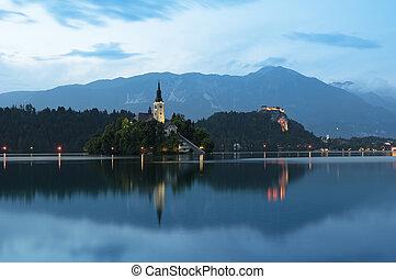 Lake Bled at night.