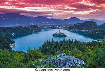 lake Bled at sunset. Slovenia