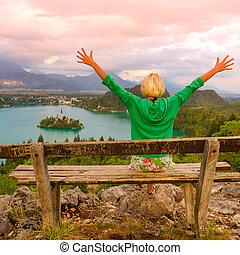 Lake Bled in Julian Alps, Slovenia.