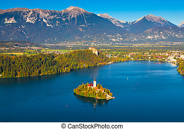 Lake Bled, Slovenia - Aerial view of Lake Bled in Slovenia
