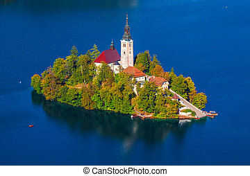 Lake Bled, Slovenia - Island on Lake Bled in Slovenia, with ...