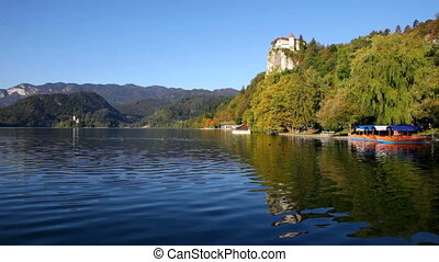 Lake Bled, Slovenia - Lake Bled in Slovenia with the castle...