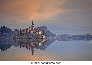 Lake Bled. - Lake Bled with St. Marys Church of the...