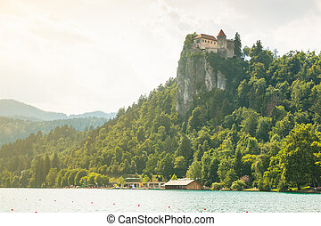 Lake Bled with Bled castle in Slovenia
