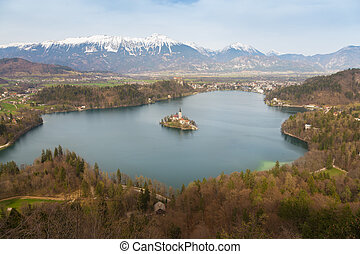Lake Bled with island church, Slovenia, Europe.