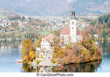 lake Bled with small island