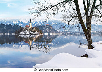 Lake Bled with St. Marys Church of the Assumption on the small island