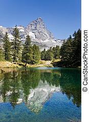 Matterhorn - Lake Bleu and the south face of Matterhorn. ...