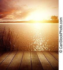 Lake - Boardwalk on lake at sunrise