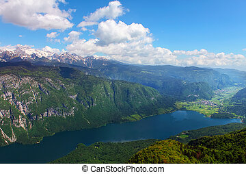 Lake Bohinj from Vogel cable car top station. Julian Alps....