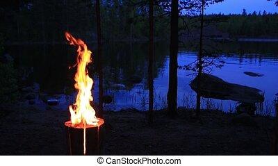 lake., bougie, intérieur, soir, finlandais, brûlé, brûler, ou, bûche, bois, night., suédois