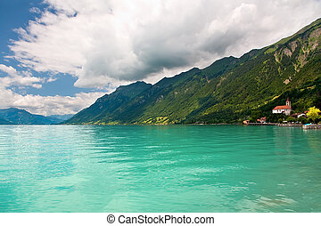 This is a view of Lake Brienz in the district of Interlaken in the canton of Berne in Switzerland.