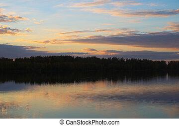 lake., brumeux, reflet, levers de soleil, matin