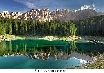 Lake Carezza Italian Dolomites - panorama of Carezza lake in...