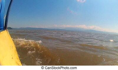 lake Chamo Ethiopia - the boat is floating in the lake Chamo...