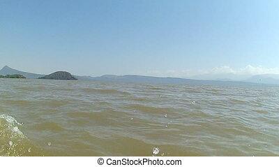 lake chamo - ovement on the water on a boat on lake chamo...