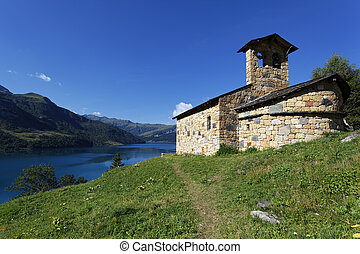 lake, chapel and blue sky