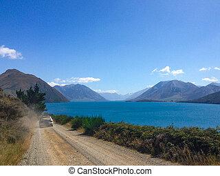 Lake Coleridge in Canterbury on the South Island of New Zealand