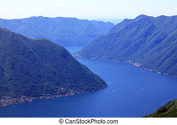 Lake Como in the middle of the mountains