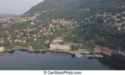 LAKE COMO, ITALY Villa Desta from the drone and the Italian Alps in background