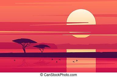 lake., coucher soleil, vif, sur, illustration, africaine, vecteur